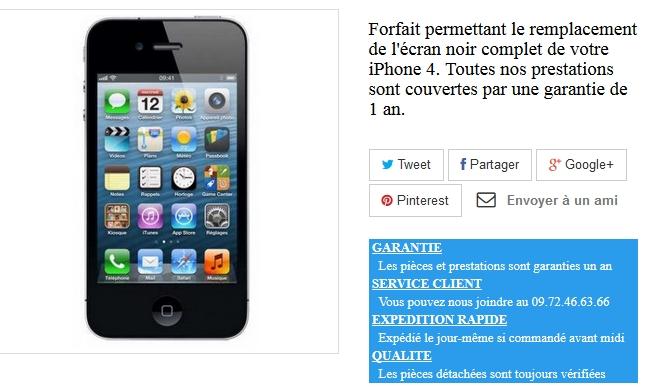 ecran neuf iphone 4